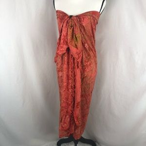 SARONG swimsuit wrap coral & green fringe